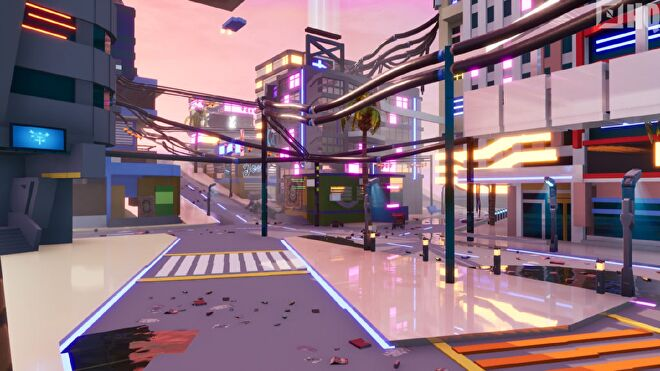 A neon-lit street from Cyberpunk 2077's Night City, as recreated in Fortnite Creative.