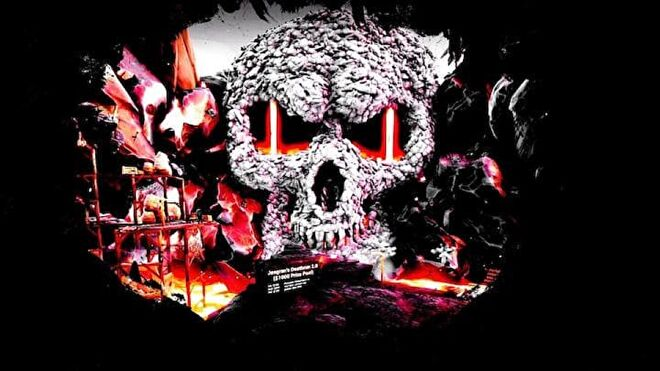 A rock formation shaped like a skull with lava running through the eye sockets.