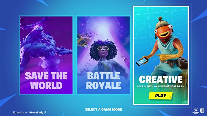 The mode select screen that appears when you launch Fortnite. Choices are Save the World, Battle Royale, and Creative.