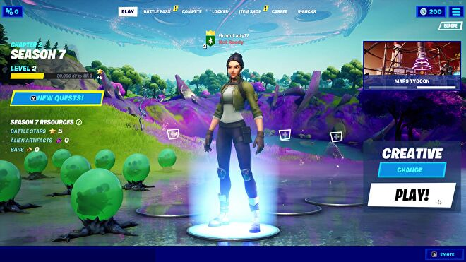 Fortnite Season 7's landing screen, featuring a default skin character and the game options for Creative Mode.