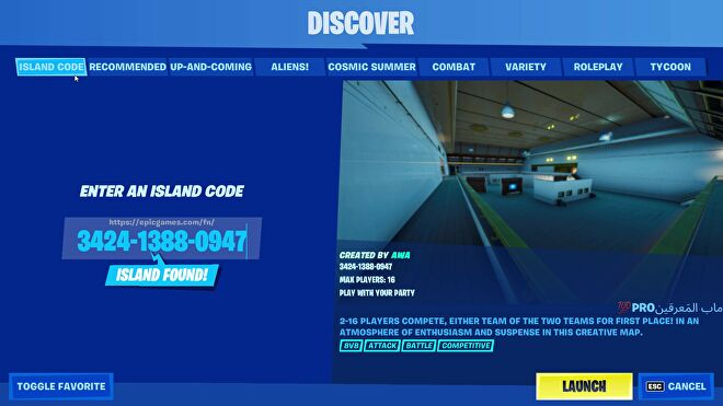 The Island Code option in Fortnite Creative's Discover page. Text indicates an island has been found and the server is ready to launch.