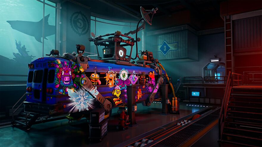 A screenshot of Fortnite Impostors showing a blue battle bus in a garage looking in need of repairs.