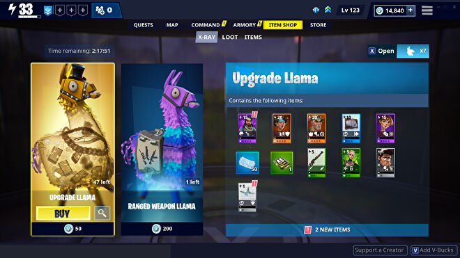 A screenshot of Fortnite's X-Ray Llama system.