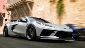 A screenshot of Forza Horizon 5 showing a grey sports car driving fast against a blurred background.