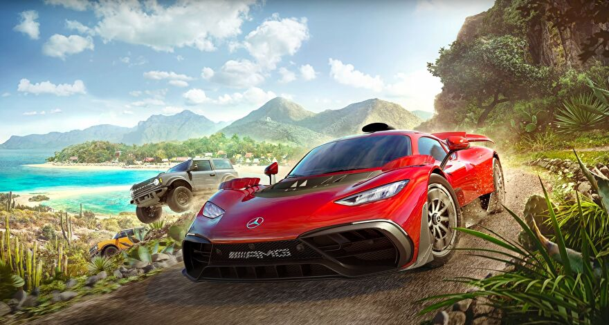 Forza Horizon 5's new cover art, featuring a Corvette sports car and a Ford Bronco against a summery background of beach and jungle.