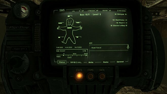 A menu screen showing the FOV Slider mod in Fallout: New Vegas