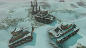 Tanks in the snow in a frame from Foxhole's Winter Army update trailer.