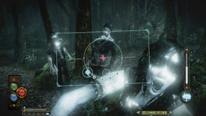 Ghosts in a forest lunge at the camera in Fatal Frame: Maiden Of Black Water