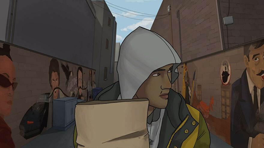 Frank And Drake - Frank walks home through an alleyway with a grey hoodie over his head and a brown grocery sack in his arms.