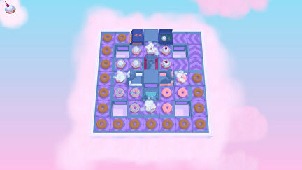 A factory floor in Freshly Frosted. Donuts are leaving ovens and heading along conveyor belts to be iced in pink icing, and have cream and sprinkles added
