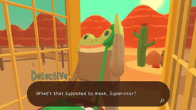 A screenshot of Frog Detective 3, showing the frog detective on the phone in a phone booth.