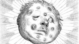 A black and white image of a cartoon moon face with large, unsightly boils