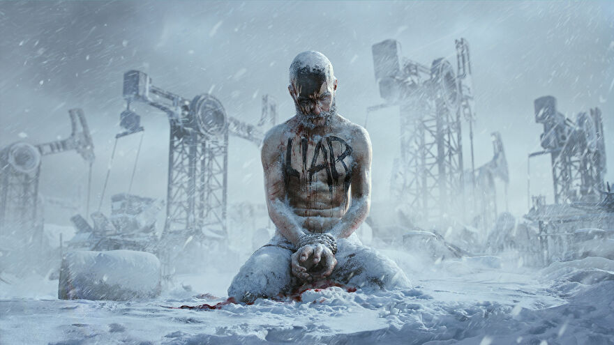 """An image from Frostpunk 2's announcement showing a man, on his knees in the snow, frozen to death with """"LIAR"""" written on his bare chest."""