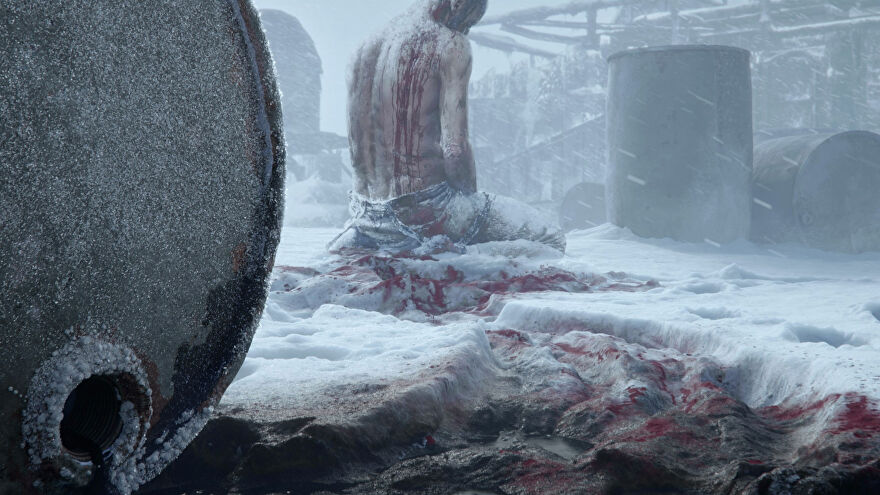 A bloody man frozen in the snow amidst oil barrels in the teaser trailer for the next game from Frostpunk developers 11 Bit Studios.