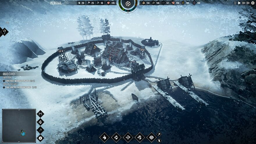 Frozenheim - A small viking settlement is surrounded by walls and snow.
