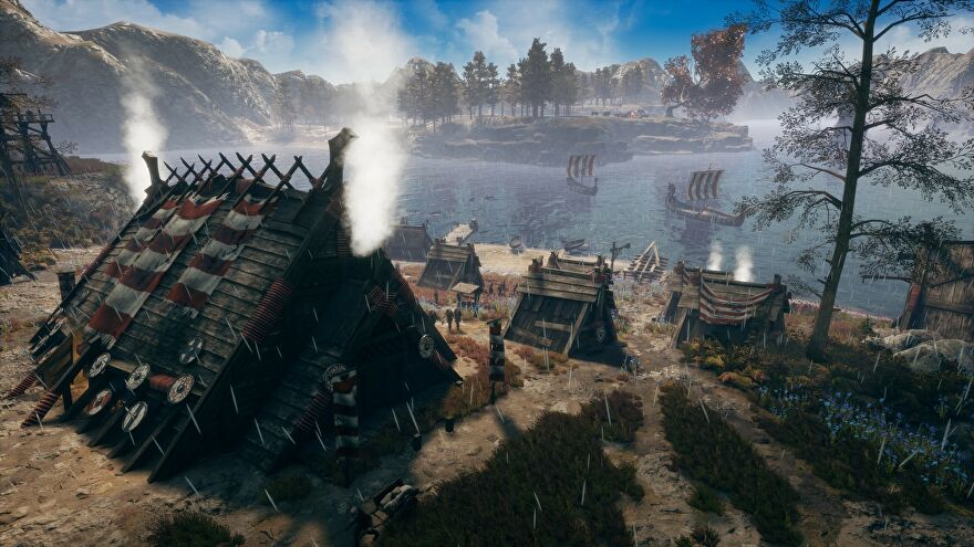 A screenshot of Frozenheim, showing a small Norse village next to a lake.