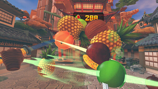 Swords slicing coconuts, pineapples, and more fruits in a Fruit Ninja VR screenshot.