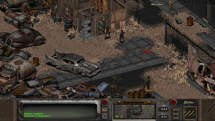a screenshot of Fallout 2 with a wide-screen mod applied; the player character wearing a leather jacket talks to other toughs in a junkyard