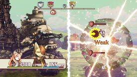 A screenshot of Fuga: Melodies Of Steel showing a big tank fighting a little tank.