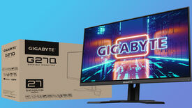 the gigabyte g27q gaming monitor, pictured next to its box