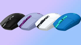 a photo of four logitech g305 lightspeed mice in front of a blue gradient backdrop