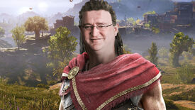 Alexios from Assassin's Creed Odyssey standing in front of a grassy backdrop, but he has the face of Gabe Newell