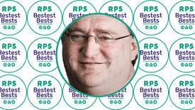 A white background covered in Bestest Best logos, with the face of Gabe Newell in the middle