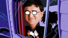 Bernard Bernoulli from Day Of The Tentacle Remastered with the face of Gabe Newell