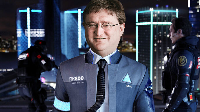 Connor from Detroit Become Human with the face of Gabe Newell