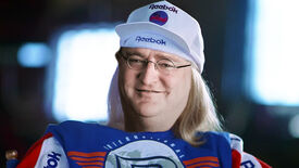 Garth from Wayne's World wearing Reebok branded clothes and the face of Valve's Gabe Newell