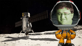 A character from Kerbal Space Program standing next to a rocket on a moon, but the Kerbal character has the face of Gabe Newell