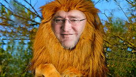 A big lion, but with the face of Gabe Newell