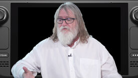 Gabe Newell sat in front of a Valve Steam Deck