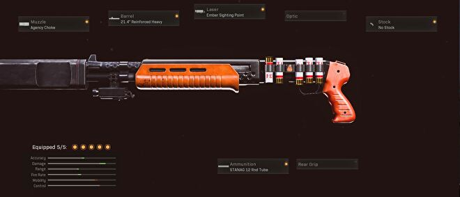 This gallo loadout has the agency choke, 21.4 inch reinforced heavy barrel, ember sighting point, no stock, and STANAG 12 round tube.