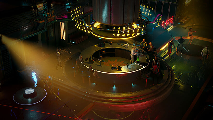 Gamedec - In an isometric view of a futuristic bar, characters sit around having drinks and dancing in a club.