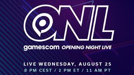 """Gamescom Opening Night Live 2021 logo with text announcing the date and time """"Wednesday, August 25 at 8pm CEST / 2pm ET / 11am PT"""""""