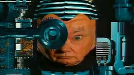 The cyborg head of Patrick Moore in GamesMaster.