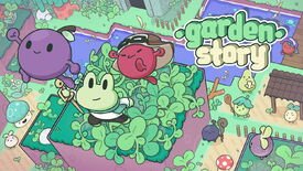 Artwork for Garden Story showing Concord and friends leaping into the air, with their cartoon village below