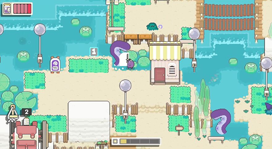 Garden Story - Concord the grape swings a small sword at a large purple tentacle coming out of the water in the cute, pastel village.