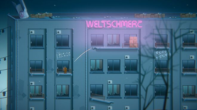 A space man plays a game of golf across a set of abandoned apartment balconies in Golf Club Wasteland