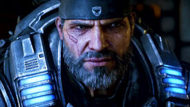 Marcus Fenix from Gears 5 with a beard and a cross look on his face