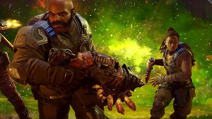 A screenshot showing two burly soldiers, one masculine and one feminine, holding big weapons and backlit by a green explosion