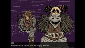 A screenshot from Genderwrecked showing a monster who's wearing a skull atop her head and holding up her girlfriend, a ball of maggots saying 'Ain't like it's a secret that we're gay as hell'.
