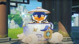A screenshot of Genshin Impact showing Tubby the teapot spirit, popping out the top of a large, floating teapot with the teapot's lid on his head like a hat.