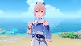 Genshin Impact - Jean's new summer character outfit added in update 1.6. She wears a casual blue dress with a high collar and belt with a hair bow.