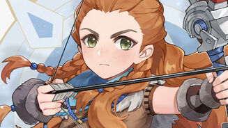 An illustration of Aloy from Horizon: Zero Dawn drawn in an anime style, as per Genshin Impact characters.
