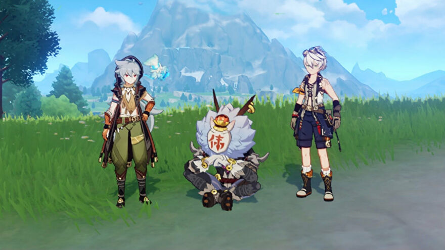 A Genshin Impact screenshot of three characters side-by-side in front of a mountain, looking at the camera.