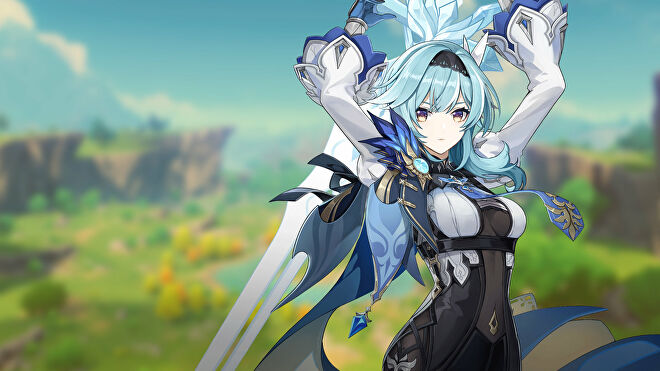 Promotional art of the character Eula from Genshin Impact.