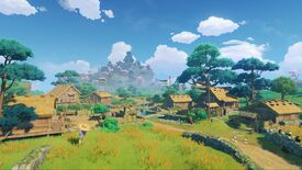 An idyllic farming village in Genshin Impact, as viewed from its outskirts.