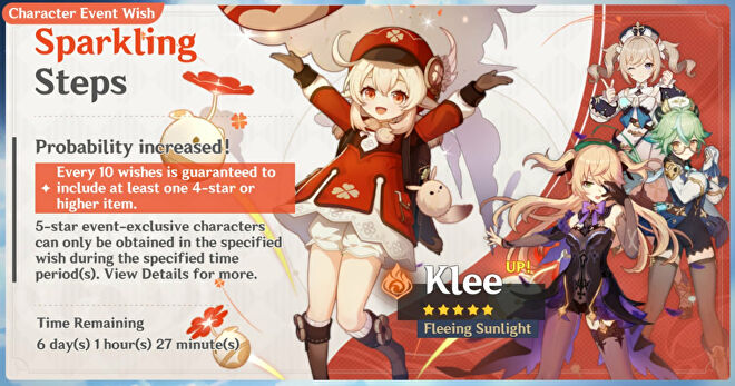 A Genshin Impact screenshot of the Klee Character Event Wish banner.